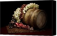 Drum Canvas Prints - Grapes and Wine Barrel Canvas Print by Tom Mc Nemar
