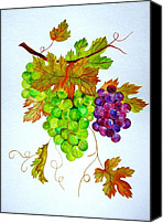 Elena Mahoney Canvas Prints - Grapes Canvas Print by Elena Mahoney