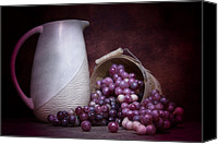 Stoneware Canvas Prints - Grapes with Pitcher Still Life Canvas Print by Tom Mc Nemar