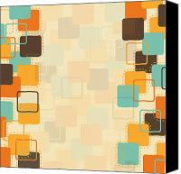 Burnt Canvas Prints - Graphic Square Pattern Canvas Print by Setsiri Silapasuwanchai