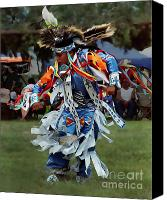 Pow Wow Canvas Prints - Grass Dancer Canvas Print by Terril Heilman