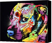 Animal Art Print Mixed Media Canvas Prints - Gratitude Pit Bull Warrior Canvas Print by Dean Russo