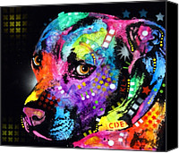 Dean Russo Mixed Media Canvas Prints - Gratitude Pitbull Canvas Print by Dean Russo