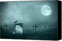 Halloween Scene Canvas Prints - Gravestones in moonlight Canvas Print by Jaroslaw Grudzinski