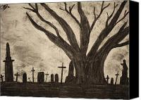 Creepy Drawings Canvas Prints - Graveyard by gothic old tree Canvas Print by Mike M Burke