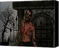 Zombie Digital Art Canvas Prints - Graveyard Zombie Canvas Print by Jean Gugliuzza