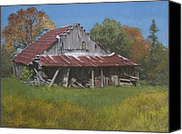 Egg Tempera Painting Canvas Prints - Gray Farm Building Canvas Print by Peter Muzyka