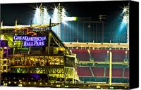 Ballpark Canvas Prints - Great American Ballpark Canvas Print by Keith Allen