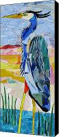 Mosaic Glass Art Canvas Prints - Great Blue Heron 1 Canvas Print by Charles McDonell