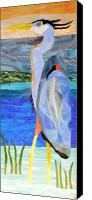 Mosaic Glass Art Canvas Prints - Great Blue Heron 2 Canvas Print by Charles McDonell