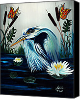 Great Painting Canvas Prints - Great Blue Heron Happiness Canvas Print by Adele Moscaritolo