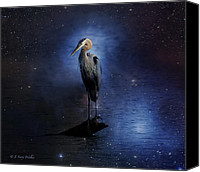 Walker Digital Art Canvas Prints - Great Blue Heron On A Starry Night Canvas Print by J Larry Walker
