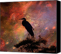 Walker Digital Art Canvas Prints - Great Blue Heron Viewing The Cosmos Canvas Print by J Larry Walker