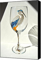 Great Blue Heron Glass Art Canvas Prints - Great Blue Heron Wineglass Canvas Print by Pauline Ross