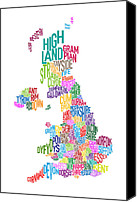 Cloud Digital Art Canvas Prints - Great Britain County Text Map Canvas Print by Michael Tompsett