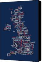 Map Art Digital Art Canvas Prints - Great Britain UK City text Map Canvas Print by Michael Tompsett