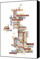 United Kingdom Canvas Prints - Great Britain UK County Text Map Canvas Print by Michael Tompsett