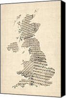 United Kingdom Map Canvas Prints - Great Britain UK Old Sheet Music Map Canvas Print by Michael Tompsett