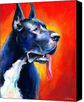Featured Drawings Canvas Prints - Great Dane dog portrait Canvas Print by Svetlana Novikova