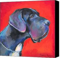 Great Dane Canvas Prints - Great dane painting Canvas Print by Svetlana Novikova