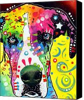 Dean Russo Mixed Media Canvas Prints - Great Dane Warpaint Canvas Print by Dean Russo