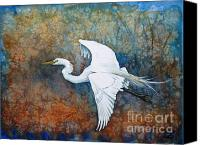 Great Painting Canvas Prints - Great Egret  Canvas Print by Zaira Dzhaubaeva