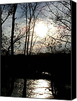 Digital Prints Pyrography Canvas Prints - Great Falls at Dusk - Great Falls Virginia Canvas Print by Fareeha Khawaja