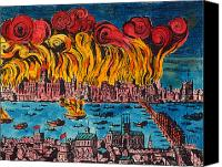 River Transportation Canvas Prints - Great Fire Of London, 1666 Canvas Print by Granger
