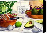 Kitchen Art Canvas Prints - Great Guac. Canvas Print by Catherine G McElroy