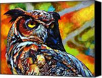 Wildlife Glass Special Promotions - Great Horned Owl Canvas Print by Kelly McNeil