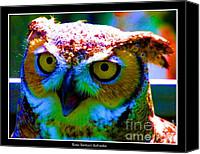Blue Rose Prints Canvas Prints - Great Horned Owl with Neon Effect Canvas Print by Rose Santuci-Sofranko