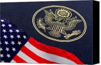 Seal Canvas Prints - Great Seal of the United States and American Flag Canvas Print by Olivier Le Queinec