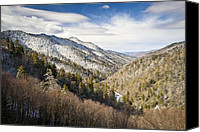 Gatlinburg Canvas Prints - Great Smoky Mountains National Park Winter Snow Gatlinburg TN Canvas Print by Dave Allen