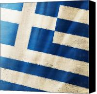 Patriotic Canvas Prints - Greece flag Canvas Print by Setsiri Silapasuwanchai