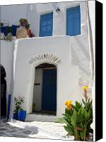 Stucco Canvas Prints - Greek doorway Canvas Print by Jane Rix