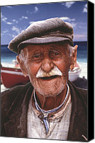 Thira Canvas Prints - Greek Fisherman Canvas Print by Ron Schwager