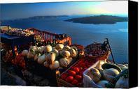 Tomatoes Tapestries Textiles Canvas Prints - Greek food at Santorini Canvas Print by David Smith