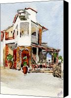 House Painting Canvas Prints - Greek Taverna. Canvas Print by Mike Lester