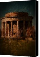 Stone Posters Canvas Prints - Greek Temple Monument War Memorial Canvas Print by Angie McKenzie