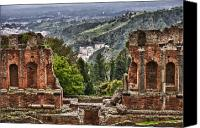Taormina Canvas Prints - Greek Theater Canvas Print by Janet Fikar