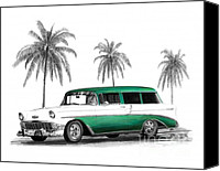California Hot Rod Canvas Prints - Green 56 Chevy Wagon Canvas Print by Peter Piatt