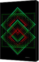 Design Canvas Prints - Green and Red Geometric Design Canvas Print by Mario  Perez
