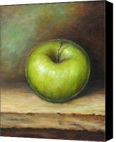 Green Canvas Prints - Green Apple Canvas Print by Mirjana Gotovac