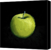 Snack Canvas Prints - Green Apple Still Life Canvas Print by Michelle Calkins