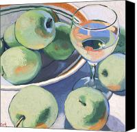 Bowl Canvas Prints - Green Apples and Pinot Grigio Canvas Print by Christopher Mize