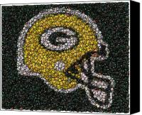 Bottle Cap Canvas Prints - Green Bay Packers Bottle Cap Mosaic Canvas Print by Paul Van Scott