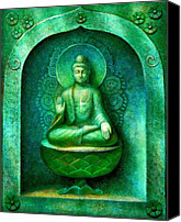 Buddha Art Canvas Prints - Green Buddha Canvas Print by Sue Halstenberg