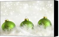 Backdrop Canvas Prints - Green christmas balls Canvas Print by Sandra Cunningham