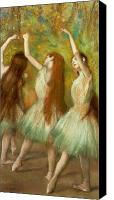Pastel On Paper Canvas Prints - Green Dancers Canvas Print by Edgar Degas