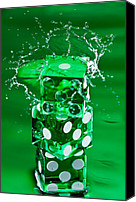 Gambling Canvas Prints - Green Dice Splash Canvas Print by Steve Gadomski